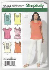 Simplicity Misses' Pattern 2599 Size 12-20 Summer Tops with trim variations NEW