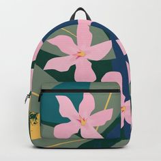 Pink Tropical Flowers and Leaves Backpack by peladesign D Craft, Tropical Flowers, One Size Fits All, Fashion Backpack, Laptop, Handle, Construction, Backpacks, Artists