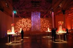 What a stunning cocktail party for a Bat Mitzvah! #floral #lighting and #ice curtains! {TableArt; Eventions Lighting, Photo: John Armich}