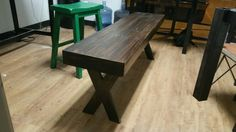 X Leg bench with 3 inch thick top