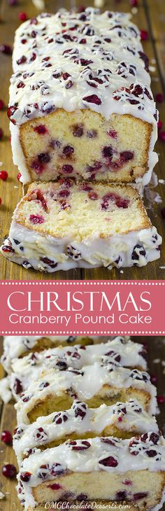 Thinking about Christmas recipes ? Then you should think about tasty pound cake with cranberries and white chocolate and a beautiful white glaze. You simply have to try this heavenly Christmas Cranberry Pound Cake !