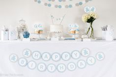 HAPPY BIRTHDAY Banner Blue Gray Boy by PassTheScissorsShop on Etsy