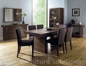 Akita Walnut 6 Seater Panel Dining Table and 6 Square Back Brown Leather Dining Chairs. Crafted using American black walnut, inspired by oriental designs. Cheap Table And Chairs, Cheap Dining Sets, Oak Dining Sets, Dining Room Furniture Sets, Garden Table And Chairs, Dining Rooms, Glass Top Dining Table, Walnut Dining Table, Extendable Dining Table