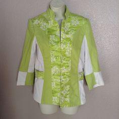 Womens S Small ST. JOHN SPORT Lime Green Blazer Jacket 3/4 Sleeve Logo Buttons #StJohnSport #Blazer
