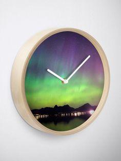 """Aurora IV"" Clock by juneaasheim Quartz Clock Mechanism, Modern Prints, Hand Coloring, Sell Your Art, Aurora, Interior, Indoor, Northern Lights, Interiors"