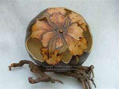gourd art, carv flower, flower gourd