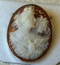 Antique Victorian Carved Shell Cameo Day and Night Eos Nyx Eagle Brooch Pendant