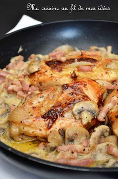My cooking with my ideas …: Val-Dieu chicken supreme with mushrooms, bacon, shallots and honey … Source by frdriquecharret Frango Chicken, Chicken Supreme, Low Carb Diets, Good Food, Yummy Food, Cooking Recipes, Healthy Recipes, Cooking Ideas, Sweet And Salty