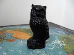 OWL FIGURINE Black Resin Owl Ornament Small Owl Collectible Owl Desk Accessory Owl GIFT Bird Lovers Gift Ornithology Bird Figurine by BigGirlSmallWorld on Etsy