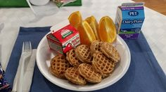 Many school breakfast options are a healthier version of student favorites, like these whole-grain mini waffles from Wake County. Fresh fruit and milk complete this healthy breakfast!