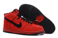 Clearance Red Black Nike Dunk High Shoes Fur Inside Shoes