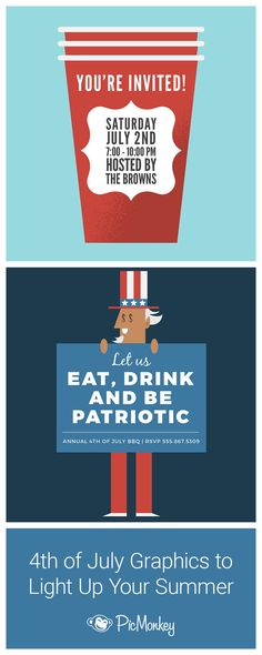 How to create 4th of July invitations and cards with PicMonkey's patriotic clip art and graphics. Flags, Uncle Sam, solo cups, hot dogs, beer, ketchup & mustard stickers and more.