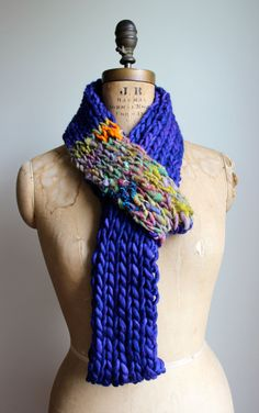 Bohemian knit loop infinity scarf. Purple. Yellow. by Happiknits