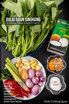 Ingredients to prepare gulai daun singkong: cassava/yam leaves, coconut milk, shallots, garlic, red chilies, ginger, galangal, candlenuts, lemongrass, kaffir lime leaves, coriander, turmeric, salt, and sugar.