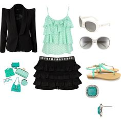 """""""mint with black"""" by lilhotstuff24 on Polyvore"""
