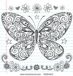 Doodle Butterfly and flowers