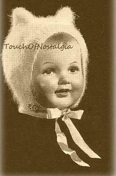Angora KITTEN Ear BONNET Vintage Knitting Pattern - Charming KITTEN-Ear Bonnet / Kitten Soft - So Cuddly