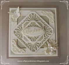 Elly's Card- Corner, Noble Classic Adorned Squares, Caribbean Corner Border Tag
