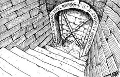 "Original published RPG art ""Handout B: Entrance"" from Goodman Games DCC 23 Series by Stefan Poag"