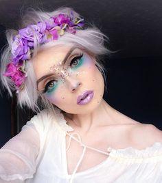 12 pretty unicorn makeup ideas for halloween mermaid costume Fairy Make-up, Makeup Fx, Cosplay Makeup, Fairy Costume Makeup, Pixie Makeup, Unicorn Makeup, Mermaid Makeup, Fairy Fantasy Makeup, Purple Fairy Makeup