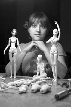 """""""The reason I love making dolls is because it's such a multidisciplinary art form. I'm not content working in just one medium such as painting or sculpture, and dolls offer me a very diverse and satisfying tactile experience. To create a doll I get to do it all: sculpture, industrial design, painting, engraving, mold-making, drawing, metalwork, fashion and jewelry design. I want it all, or nothing!"""" - Marina Bychkova"""