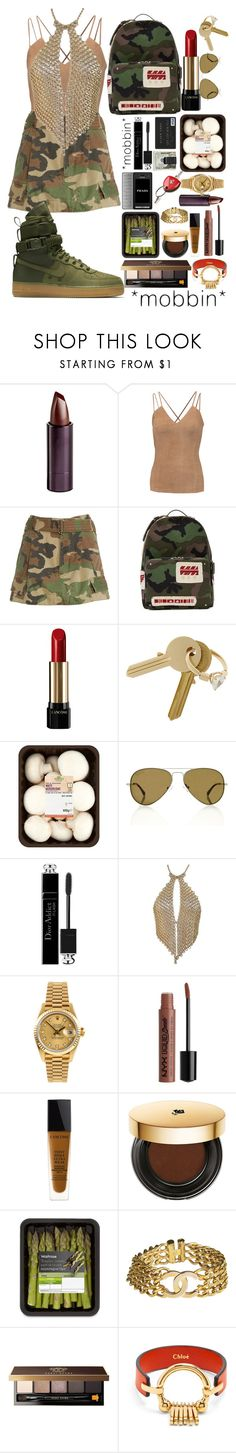 """gold and camo"" by annabidel ❤ liked on Polyvore featuring Serge Lutens Beauté, Bailey 44, Marc Jacobs, NIKE, Valentino, Lancôme, Maison Margiela, Michael Williams, Christian Dior and Rolex"