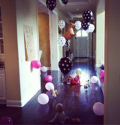 Presley's Birthday- polka dot balloon decor by Nicole at Me Oh My!