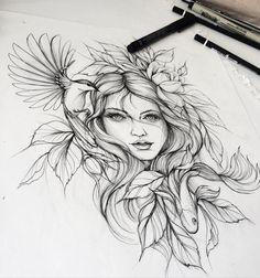 Nature Tattoos, Body Art Tattoos, New Tattoos, Sleeve Tattoos, Flash Tattoos, Tattoo Sketches, Tattoo Drawings, Drawing Sketches, Drawing Faces