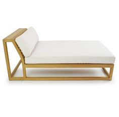 The Maya Teak Chaise Daybed can be used alone as a lounger or can be combined with other pieces from the Maya Collection. Plush cushions sit atop a minimal but extremely sturdy teak frame, giving the daybed the impression of lightness.