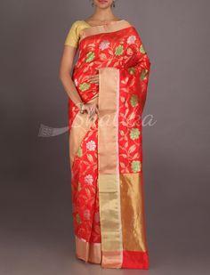 Nadira Fervent Red Blossom In Silver And Gold Real Zari #ChanderiPattuSaree