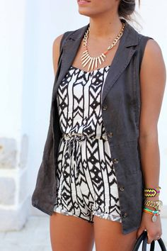 charcoal grey vest over black & white patterned top (not a fan of rompers)