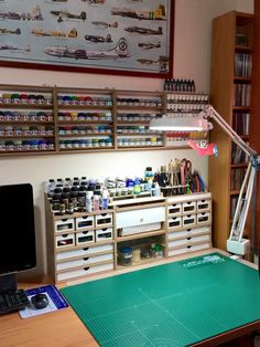 Below we present example use of HobbyZone products (pictures taken by our clients) is part of Art studio organization - Hobby Desk, Studio Organization, Organization Ideas, Garage Organization, Art Desk, Studio Room, Space Crafts, Model Building, Wood Projects