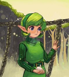 Legend of Zelda Ocarina of Time art > Saria - Sage of Forest Ben Drowned, Simple Character, Character Design, Saria Zelda, Elf Games, Ocarina Of Times, Party Characters, Legend Of Zelda Breath, Twilight Princess