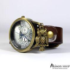 **Armbanduhr Uhr Owl Damenuhr Wickelarmband Wickeluhr lederarmband** - SD009-Dunkelbraun  Uhr mit einem Kunstlederarmband .  Quarzwerk , inklusive Batterie einsatzbereit.  Das Armband passt in...