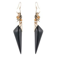 Golden Studded Double Drop Wire Earring