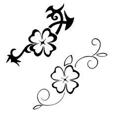 Black And Grey Four Leaf Clover Tattoo Design - Clover Tattoo Designs #hawaiiantattoosforearm