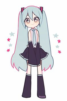 VocaloidddddYou can find Hatsune miku and more on our website. Anime Chibi, Kawaii Anime, Arte Do Kawaii, Kawaii Art, Miku Chibi, Manga Anime, Cute Art Styles, Cartoon Art Styles, Kawaii Drawings
