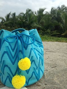 Turquoise Boho Geometric Purse with Pom Poms // Wayuu Mochila Tote // Beach Bag // MARIYA $195