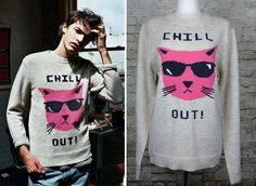 Glamour Kills Chill Out Cat Oversized Wool Knit Blend Sweater Crew Neck Cream L #GlamourKills #ScoopNeck