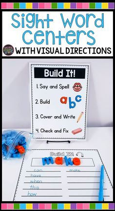 Teach beginning readers and language learners to work with multisensory materials like playdough, letter stamps, and magnet letters appropriately and independently with these visual direction signs for multisensory sight word centers! Teaching Second Grade, Teaching Sight Words, Sight Word Activities, Letter Activities, Learning Activities, Phonics Activities, Kindergarten Literacy, Literacy Centers, Literacy Games
