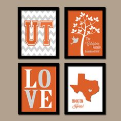 University of Texas Hook'Em Horns College Custom Family Monogram Initial State LOVE Bird Tree Wedding Date Set of 4 Prints WALL Decor ART on Etsy, $35.00