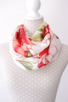Light Weight Red Flower Loop Summer Scarf with by stunninglooks, €11.99