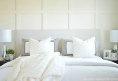 DIY Paneled Wall   DIY Wainscoting - This might be an option for my guest room.