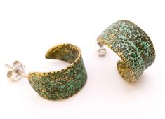 SilverBronze Hoop Sage Earrings