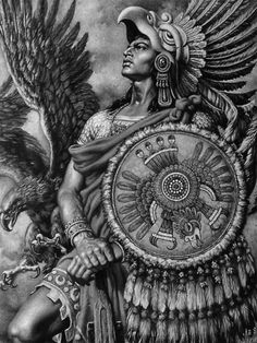 The design and shade of the aztec warrior and the detail on the warrior and the eagle Arte Cholo, Cholo Art, Chicano Art Tattoos, Body Art Tattoos, Aztec Warrior Tattoo, Aztec Drawing, Arte Lowrider, Aztecas Art, Mayan Tattoos