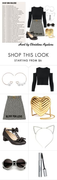 """Day 28 hurt by Christina Aguilera"" by grace-buerklin ❤ liked on Polyvore featuring Gucci, Yves Saint Laurent, Christian Dior and 30daysongchallenge"