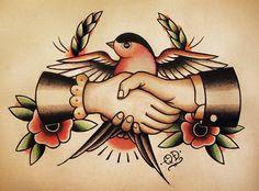Sparrow Handshake Traditional Tattoo Flash. $14.99, via Etsy.
