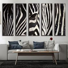 Modern 5 Pieces Animal oil Canvas Painting Zebra OT5002-in Painting & Calligraphy from Home & Garden on Aliexpress.com | Alibaba Group