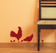 Rooster Vinyl Wall Decal Chicken Vinyl Decal by HouseHoldWords
