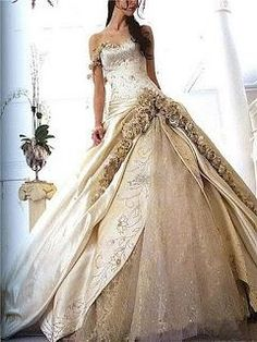 Can't get over LOVING this dress. Silk satin, embroidery, appliqués, and crystal dotted silk with roses framing it all. *sigh*  still needs sleeves and color changes, but damn...this is one hell of a dress!